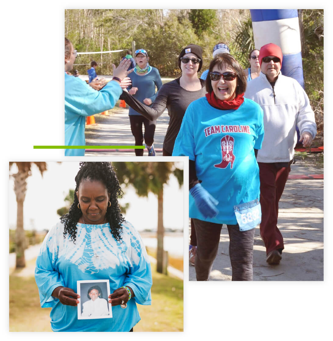 Collage of 5K race participants walking through the finish line and a woman standing outside holding and looking at a framed image of her daughter.