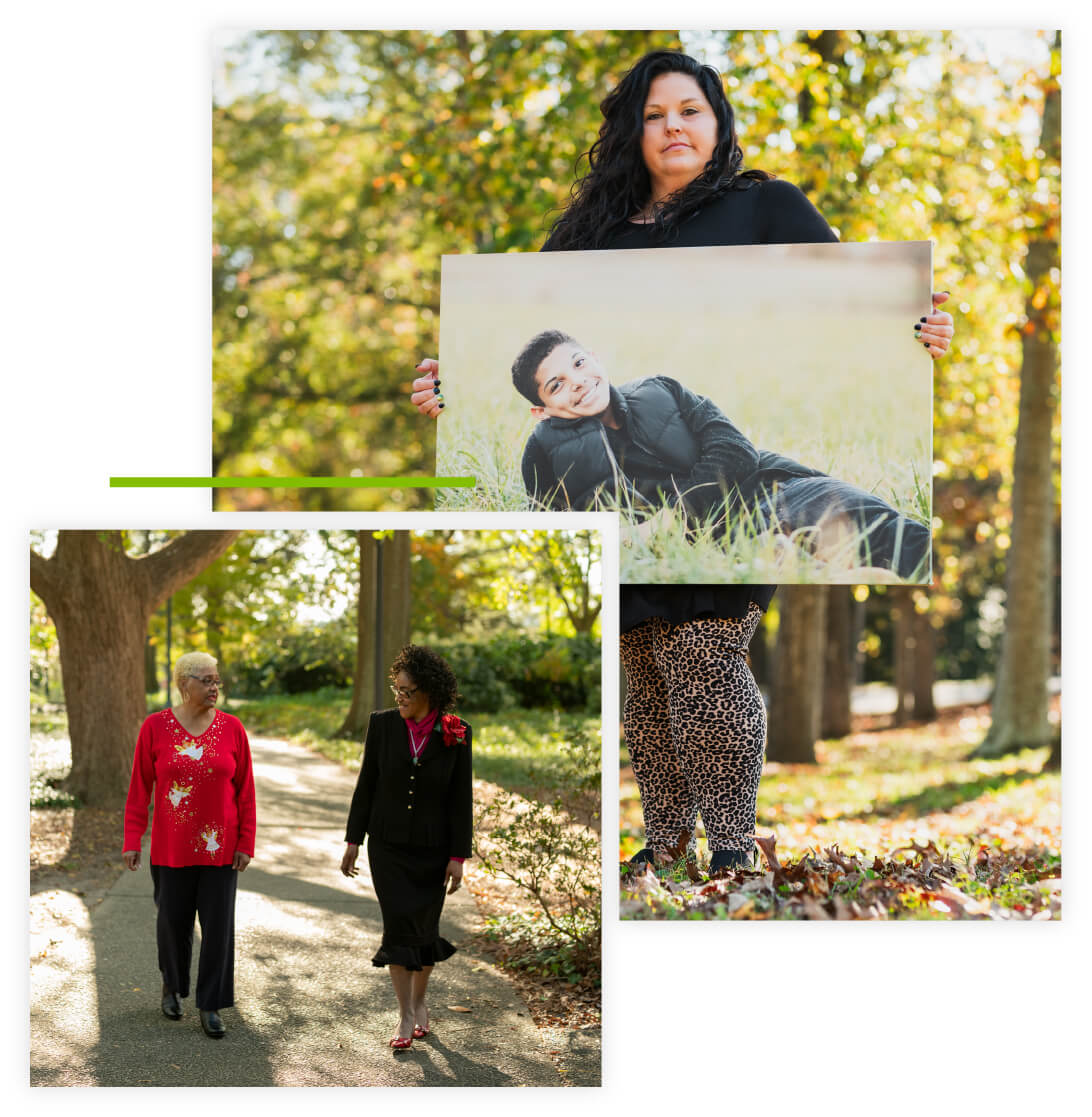Collage of mother standing outside holding a printed image of her donor hero son and two women talking and walking on a path outside.