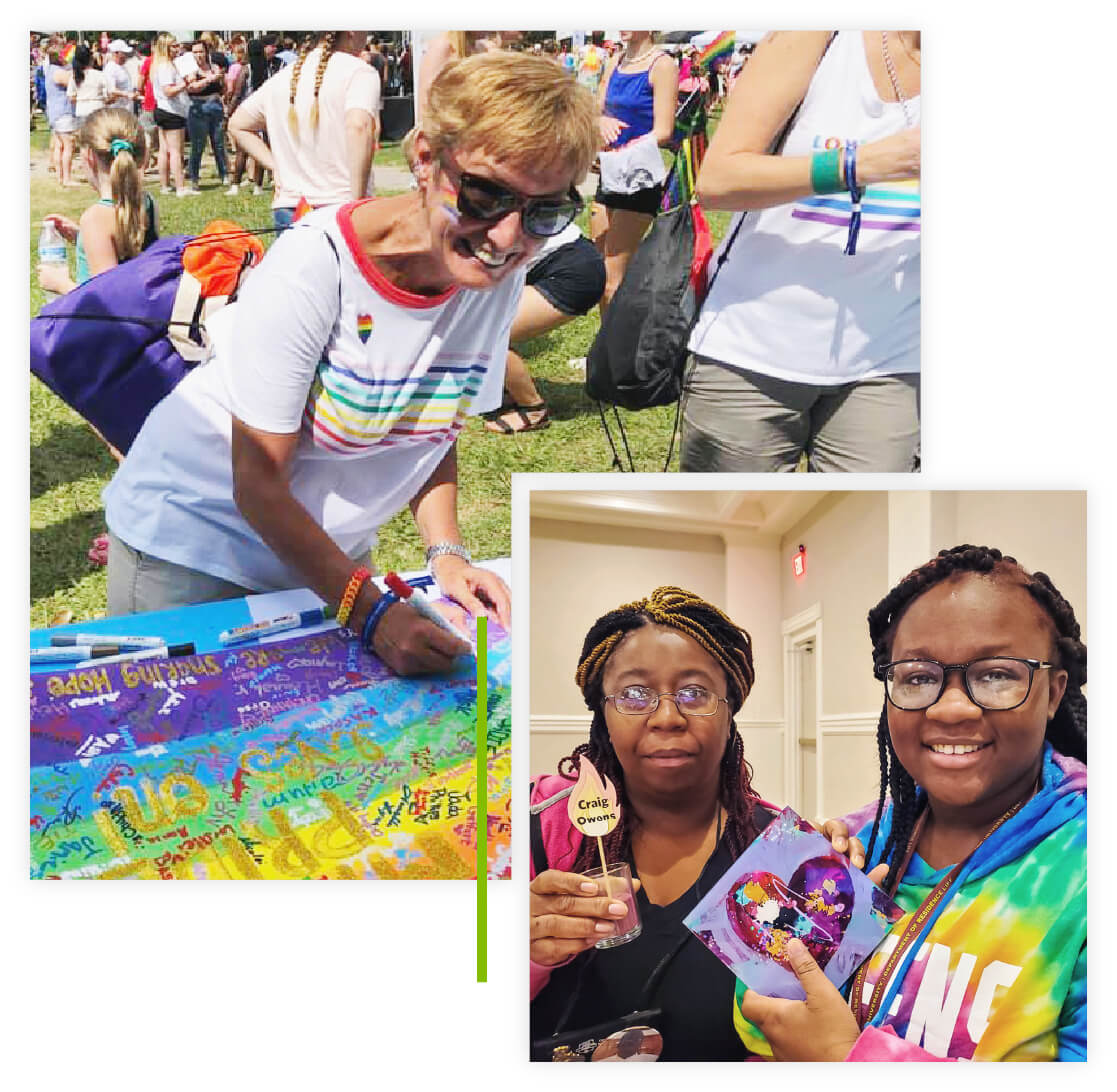 Collage of a woman smiling and signing a poster at an outdoor pride event and donor mother and daughter holding up candle and painted piece of art.