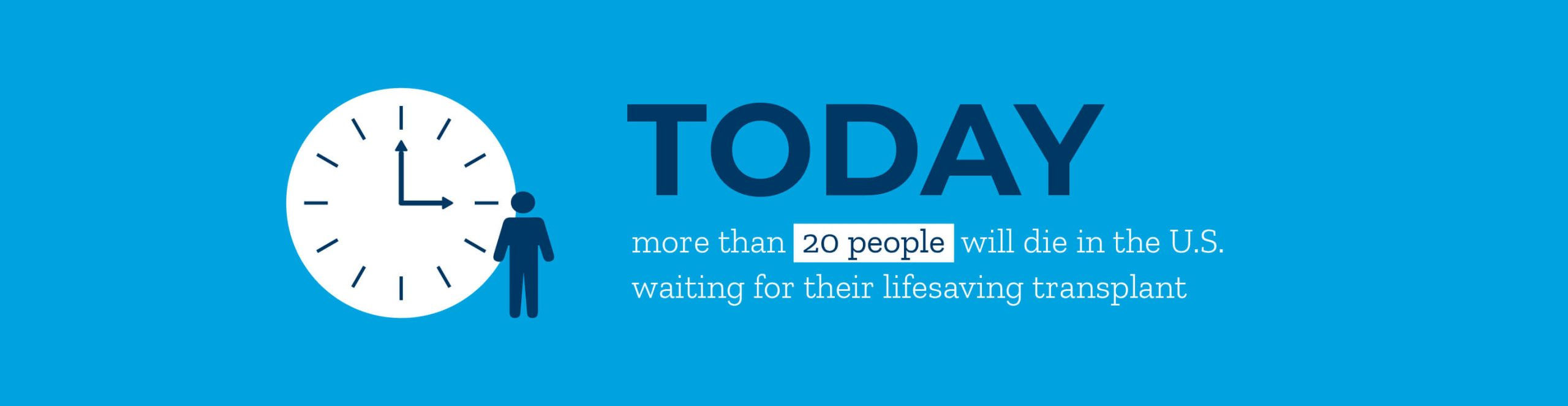 Infographic: today, more than 20 people will die in the United States waiting for their lifesaving transplant.