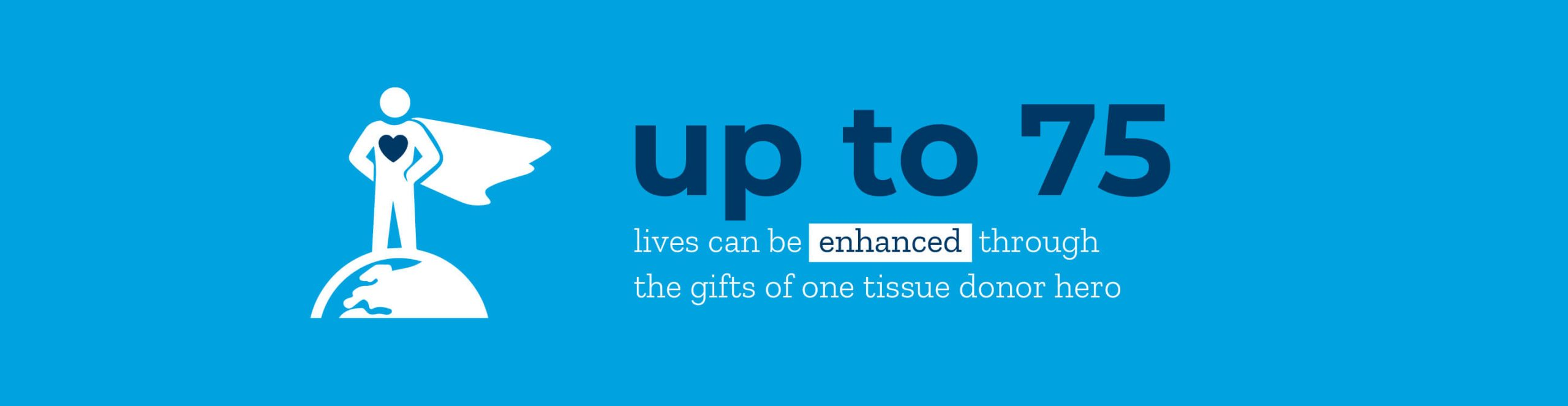 Infographic: up to 75 lives can be enhanced through the gifts of one tissue donor hero.