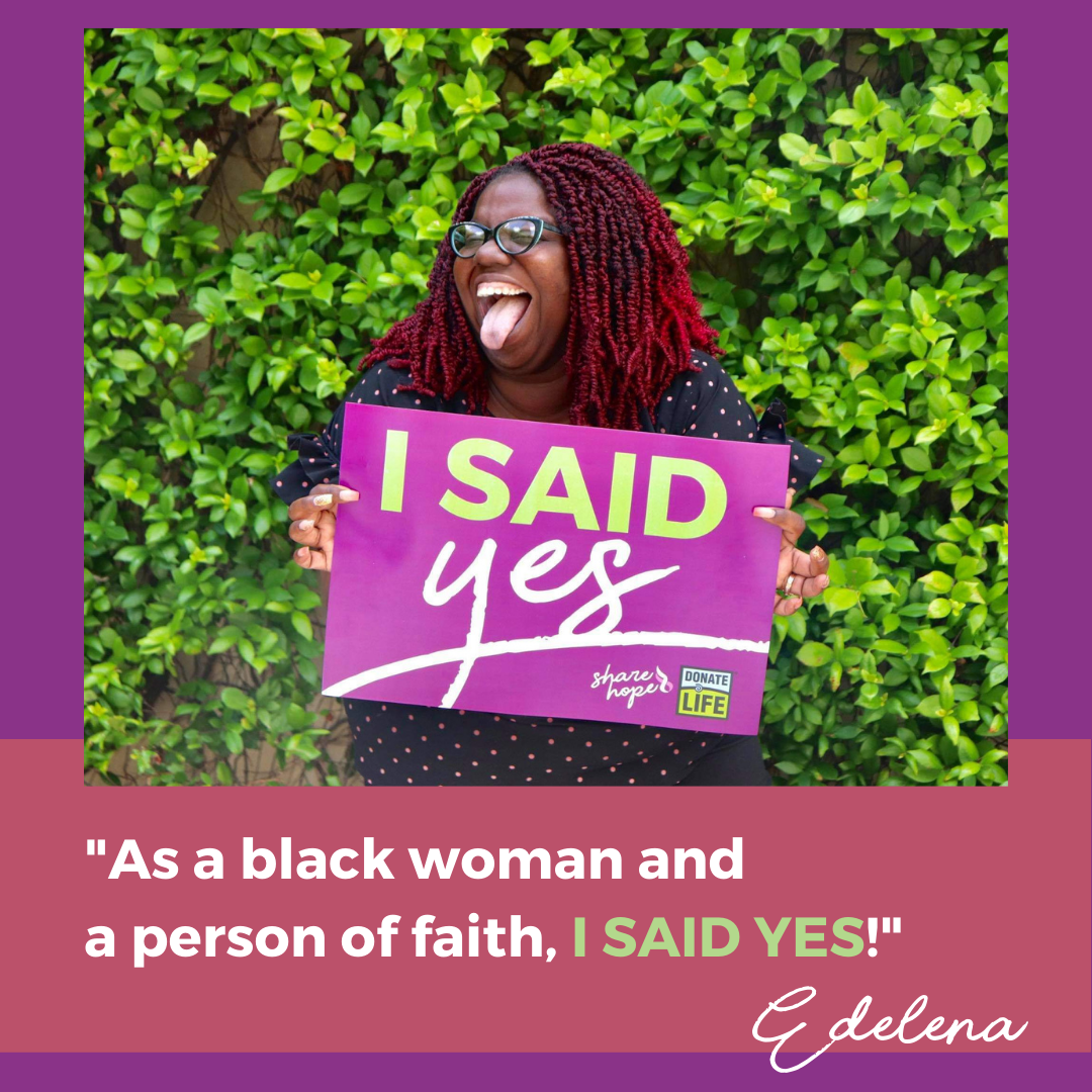 """Edelena smiling while holding sign and quote """"As a black woman and a person of faith, I SAID YES!"""""""